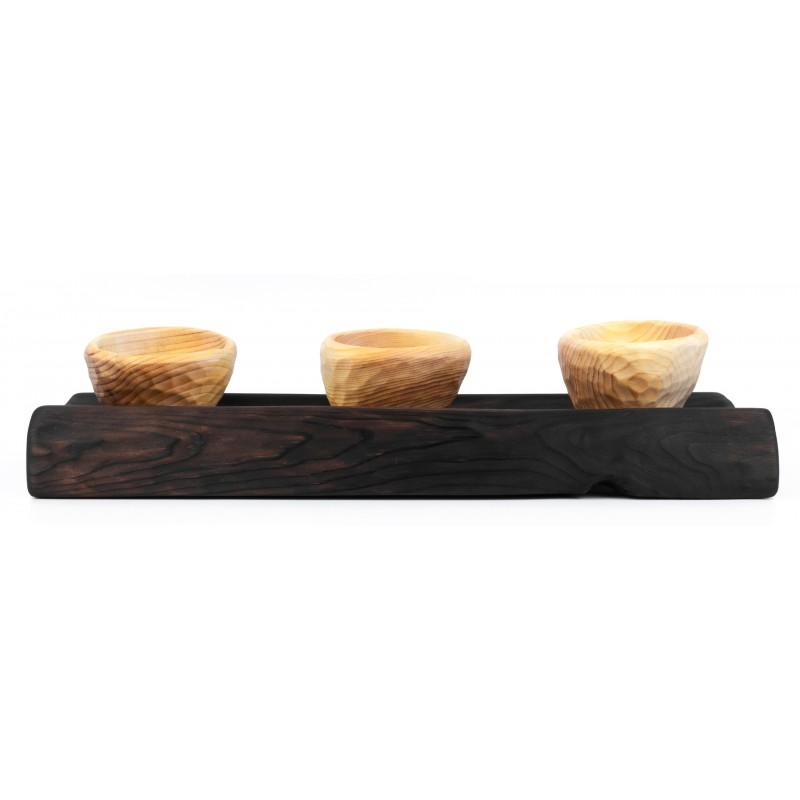 Комплект из таежного Кедра (двустороннее блюдо и 3 соусника)  Э-2/к4